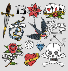 old school vintage retro tattoo ink art style hand vector image