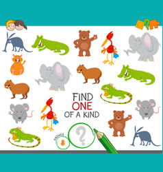 One a kind task for kids with animals vector