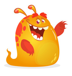 Orange monster cartoon vector