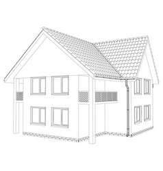 outline wireframe house on the white background vector image