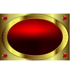 oval gold painted frame with ornament vector image