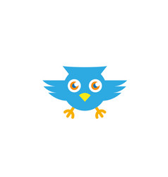 owl open eyes and fly for logo vector image