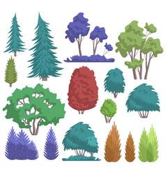 park tree cartoon flat nature vector image