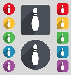 Pin bowling icon sign A set of 12 colored buttons vector