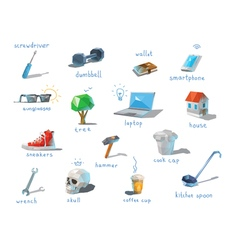 Polygonal set of different subjects work end home vector