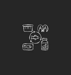 Producing fish products chalk white icon on dark vector