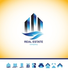 Real estate skyscraper building logo vector