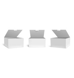 realistic open box mockup white packaging gift vector image