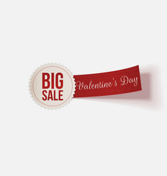 Realistic Valentines Day Label with Big Sale Text vector