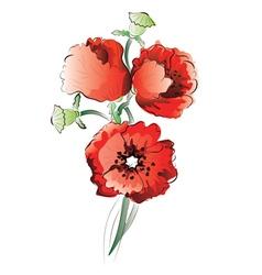 Red Poppy Flowers3 vector