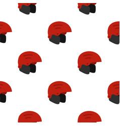 Red ski helmet pattern seamless vector