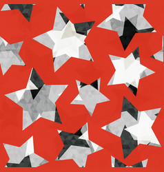 Red star geometric seamless pattern with grunge vector