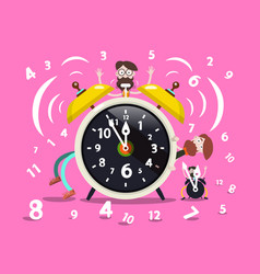 ringing alarm clock cartoon with hipster men and vector image