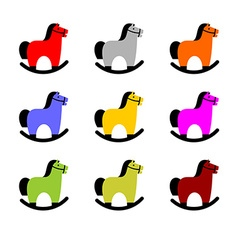 Rocking Horse Icon Set vector image