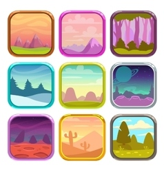 Rounded square app icons with nature landscapes vector