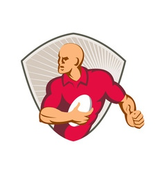 Rugby Player Running With Ball Retro vector image vector image