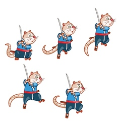 Samurai Mouse Jump Sprite vector