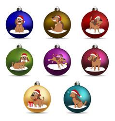 set christmas ball funny cartoon puppy vector image