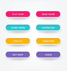 set modern buttons with different colors vector image