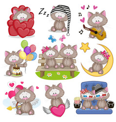 set of cute cartoon cat vector image