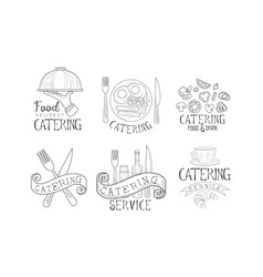 set of monochrome logos for catering companies vector image