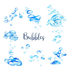 set watercolor water bubbles hand drawn vector image