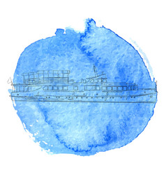 Ship at blue watercolor background vector