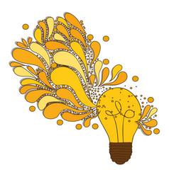 Silhouette light bulb with sparks light vector