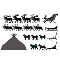 Silhouettes of deer sleds and dog sleds vector