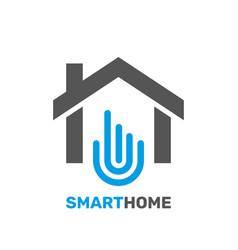 smart home emblem for digital technologies vector image