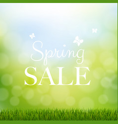 spring sale with grass border vector image