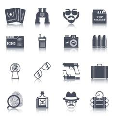 Spy gadgets black icons set vector