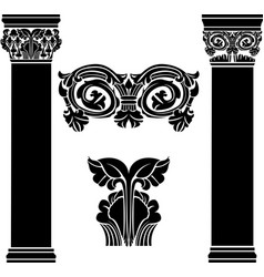 stylized ancient medieval columns second variant vector image