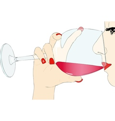Tasting red wine vector