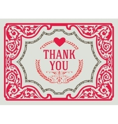 Thank you vintage greeting card design template vector