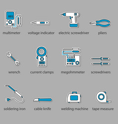 the electricians tools icon set vector image