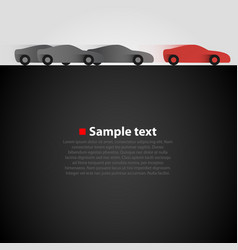 Three cars in the race dark background vector