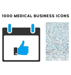 Thumb Up Hand Calendar Day Icon With 1000 Medical vector image