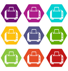 Toaster icon set color hexahedron vector