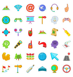 Trajectory icons set cartoon style vector