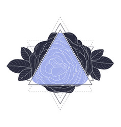 triangle with rose flowers and leaves vector image