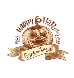 Trick or treat retro happy halloween sketch vector