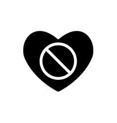 Valentines day with prohibition sign forbid vector