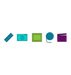 video file icon set color outline style vector image