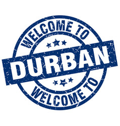 welcome to durban blue stamp vector image