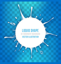 white liquid round banner with splash drops vector image