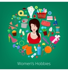 Woman Hobby Elements Set Icons vector