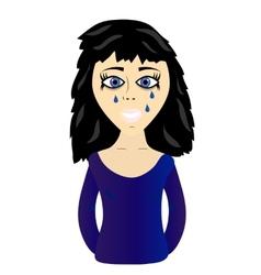 Young sad girl vector