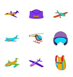 aviator icons set cartoon style vector image vector image