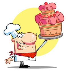 Bakery Chef Holding Up A Beautifully Cake vector image vector image